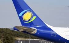 FILE: A picture taken on 27 September 2019, at the Airbus delivery centre in Colomiers, southwestern France, shows the RwandAir airline logo based in Rwanda. Picture: AFP