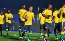 FILE: Bafana Bafana train ahead of their match against Algeria. Twitter @Pmanganyi.
