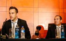 Proteas captain Faf du Plessis (L) and coach Russell Domingo speak to the press after arriving back in South Africa. Picture: Facebook.com