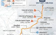 TDF 2015 route map of stage 13.