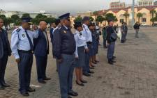 Acting National Commissioner Khomotso Phahlane addressed officers ahead of an anti-crime blitz at the Cape Town station deck in the city centre on 21 April 2016. Picture: Xolani Koyana/EWN