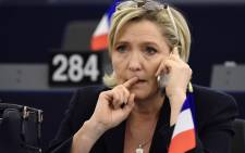 FILE:This file photo taken on January 17, 2017 shows French Front National (National Front - FN) far-right party's President, European MP and presidential candidate for the 2017 election Marine Le Pen during a plenary session of the European Parliament marking the election of its new President in Strasbourg. Picture: AFP
