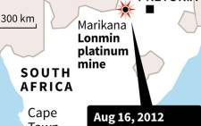 Map of South Africa locating the 2012 Marikana mine massacre that left 34 people dead. Picture: AFP.