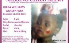 A picture by the Pink Ladies organisation for missing children shows eight-year-old Kiana Williams, who was reported missing on Thursday 13 June 2013. Picture: Supplied