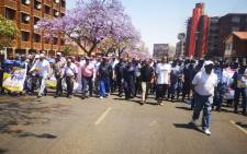SAPS members march against gender-based violence in Pretoria on 14 October 2019. Picture: @SAPoliceService/Twitter