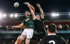 FILE: South Africa's Eben Etzebeth competes for the ball against his New Zealand opponent during their Rugby Championship match at the Westpac Stadium in Wellington on 27 July 2019. Picture: @Springboks/Twitter