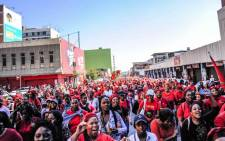 EFF supporters march to the Constitutional Court on 18 May to demand the judiciary be trained to handle sexual violence cases and femicides. Picture: @EFFSouthAfrica/Twitter.