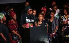 "Lerato Sengadi addresses Jabulani ""HHP"" Tsambo's family and fans at the rapper's memorial service at Newtown Music Factory, Johannesburg. Picture: Abigail Javier/EWN."