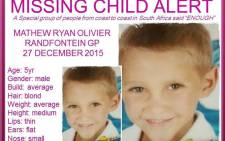 Mathew Ryan Olivier was last seen on Sunday 27 December 2015. Picture: Missing Minors The Pink Ladies Organization Facebook page.