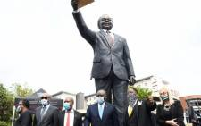 President Cyril Ramaphosa on 27 October 2020 unveiled the newly-erected nine-metre statue of late struggle icon Oliver Tambo at the OR Tambo International Airport. Picture: @PresidencyZA/Twitter