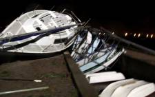 A picture taken on 23 June 2012 of a damaged boat caused by strong winds in the Free State. Rescue officials assumed the winds were the result of a tornado. Picture: NSRI