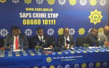FILE: This file photo shows State Security Minister David Mahlbo, Police Minister David Mahlobo and Ekurhuleni Mayor Mzwandile Masina brief the media on security changes at OR Tambo International Airport on 21 July 2017. Picture: Thando Kubheka/EWN