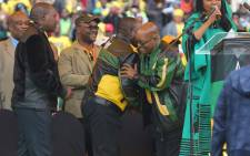 FILE: ANC deputy president greets party leader Jacob Zuma during the party's 105th birthday celebration event at the Orlando Stadium in Soweto. Picture: Christa Eybers/EWN
