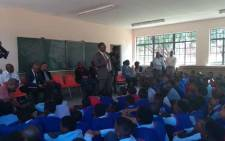 Gauteng Education MEC Panyaza Lesufi visited Fons Luminis Secondary School in Diepkloof, Soweto, on 3 March 2019 following reports that three boys allegedly gang-raped a grade eight pupil during a weekend orientation camp. Picture: @Lesufi/Twitter.