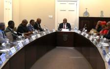 Deputy President Cyril Ramaphosa meeting with opposition parties at Tuynhuys, Parliament in Cape Town on 18 November 2014. Picture: GCIS.