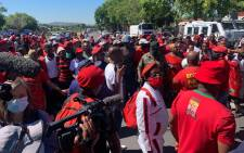 EFF members gather at the Brackenfell High School in Cape Town on 20 November 2020 for a protest. Picture: @EFFWesternCape_/Twitter