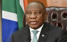 President Cyril Ramaphosa addresses the nation. Picture: GCIS.