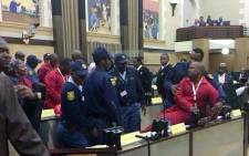 Economic Freedom Fighters (EFF) members were kicked out of the Gauteng Legislature for wearing inappropriate clothing on 1 July 2014. Picture: Cameron Modisane.