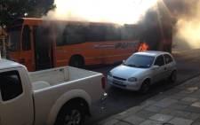 A Putco bus caught fire on 18 July, 2016 in Pretoria. Picture: Twitter @Toscallo.