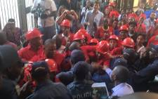 EFF councillors in a standoff with police at the Johannesburg Council offices on 13 September 2016. Picture: Clement Manyathela/EWN.