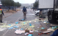 Protesters looted a KFC delivery truck and took food including meat worth an estimated R45,000. Picture: EWN.