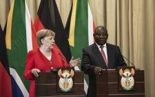 German Chancellor Angela Merkel and President Cyril Ramphosa addressing the media at the Union Buildings in Pretoria on 6 February 2020. Picture: Sethembiso Zulu\EWN