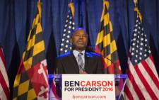 Republican candidate Dr. Ben Carson speaks to supporters at his campaign at his Super Tuesday election party at the Grand Hotel on 1 March, 2016 in Baltimore, Maryland. Picture: AFP.