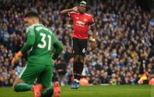 Manchester United's Paul Pogba celebrates scoring a goal against Manchester City. Picture: @ManUtd/Twitter.