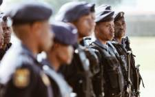 Specialised units like the Flying Squad, TRT (Tactical Response Team) and POP (Public Order Police) prepare themselves for official deployment in the Westbury community by Police Minister Bheki Cele. Picture: Thomas Holder/EWN