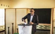 Incumbent Rwandan President Paul Kagame proceeds to cast his vote in Kigali on 4 August 2017. Picture: AFP