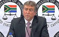 A video screengrab of FNB's Johan Burger appearing before the Zondo commission of inquiry on 18 September 2018.