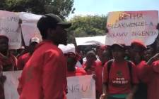 A screengrab of members of EFF student bodies demonstrating at the Durban University of Technology following the death of Mlungisi Madonsela who was shot and killed on Tuesday. Picture: EWN