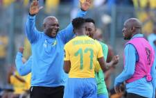 Mamelodi Sundowns coach Pitso Mosimane celebrates his side's 5-0 demolition of Al Ahly in their CAF Champions League match at Atteridgeville Stadium on 6 April 2019. Picture: @Masandawana/Twitter