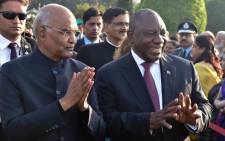 President Cyril Ramaphosa attends the At-Home farewell reception hosted by President Ram Nath Kovind in India. Picture: @GovernmentZA/Twitter.