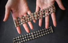 This picture was taken in Geneva on September 6, 2021, shows two bracelets belonged to French Queen Marie-Antoinette adorned with three rows of 112 old cut diamonds, that will be offered for the first time for sale at an estimated price of 2 - 4 million US dollars (Euro 1,8 - 3,7 million) by Christie's auction house.  Picture: Fabrice COFFRINI / AFP.
