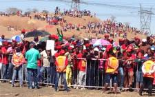 Thousands of Economic Freedom Fighters supporters gather on the Koppie at Marikana for the official launch of the party on 13 October 2013. Picture: Reinart Toerien/EWN