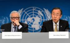 UN-Arab League envoy for Syria Lakhdar Brahimi and UN Secretary General Ban Ki-Moon attend a press conference closing the so-called Geneva II peace talks dedicated to the ongoing conflict in Syria, on 22 January, 2014, in Montreux. Picture: AFP.