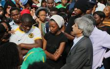 FILE: Wits vice chancellor Adam Habib listens to a group of students on campus who were protesting over the outsourcing of employees on campus on 28 October 2015. Picture: Reinart Toerien/EWN.