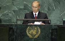 Vladimir V. Putin, Prime Minister of Russian, addresses the High-level Plenary Meeting of the Sixtieth Session of the UN General Assembly (2005 World Summit) today at UN Headquarters. The World Summit, being held from14-16 September 2005, is the largest g