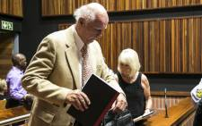 Former South African tennis star Bob Hewitt and his wife Delaille at the Palm Ridge Magistrates Court where Hewitt faces charges of rape and indecent assault. Picture: Kgothatso Mogale/EWN