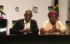 ANC secretary-general Ace Magashule and NEC member Nkosazana Dlamini Zuma at a press briefing on 2 October 2019. Picture: Theto Mahlakoana/EWN