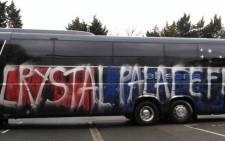 Crystal Palace supporters accidentally vandalised their own team's bus thinking it belonged to Middlesbrough. Picture: Twitter.