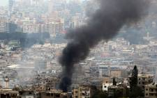 Smoke rises during clashes in Ain al-Hilweh camp, Lebanon's largest Palestinian refugee camp, near the southern coastal city of Sidon, on April 9, 2017. Picture: AFP.