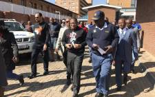 Police Minister Fikile Mbalula has arrived at Sunnyside SAPS for Mandela Day. Picture: Barry Bateman/EWN.