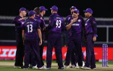 Scotland players celebrate the fall of a wicket in their T20 World Cup match against Bangladesh on 17 October 2021. Picture: @T20WorldCup/Twitter