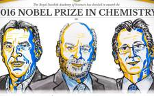 A screengrab of Jean-Pierre Sauvage, J Fraser Stoddart and Bernard Feringa who won 2016 Nobel Prize in Chemistry. Picture: Twitter/@NobelPrize.