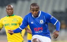 FILE: Mpumalanga Black Aces attacking midfielder, Lebohang Manyama, fights for the ball against Mamelodi Sundowns' Mogakolodi Ngele during their PSL clash on 25 August 2015. Picture: Black Aces/Facebook page.