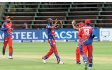 Nono Pongolo of the Lions celebrates a wicket of Yassen Vallie of Warriors during the match between Lions and Warriors on 24 February 2016 at Bidvest Wanderers. Picture: Sydney Mahlangu/BackpagePix.
