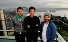 American actors Jason Sudeikis, Jason Bateman and Charlie Day pose for photographs in Sydney while promoting their new film, 'Horrible Bosses 2'. Picture: EPA.