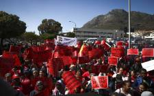 Scores of Cosatu-aligned members gathered at Keizersgracht street ahead of the trade federation's anti-state capture march in Cape Town on 27 September 2017. Picture: Cindy Archillies/EWN